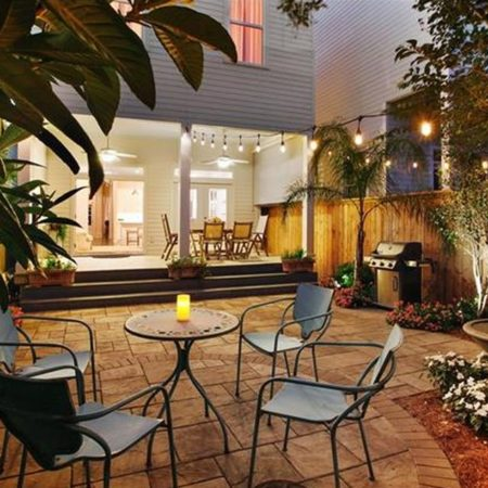 outdoor dining room at night new orleans