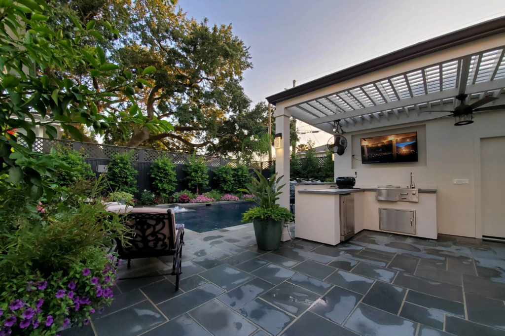 custom designed pergola in outdoor kitchen | exterior designs by beverly katz