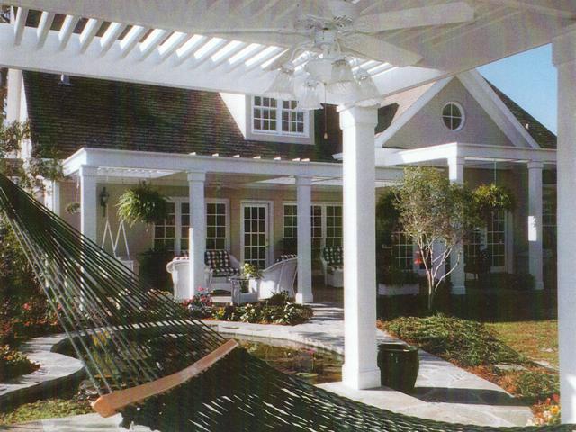 hammock hanging under pergola | exterior designs by beverly katz